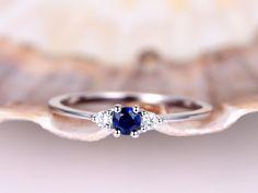 Sapphire Ring Blue Sapphire Engagement Ring Diamond Ring Plain Gold Band Plain Gold Ring White G The Sapphires, Emerald Ring Gold, Blue Sapphire Rings, Sapphire Birthstone, Sapphire Gemstone, Amethyst, White Gold Wedding Rings, Diamond Wedding Rings, Diamond Rings