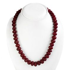 Natural Red Ruby Carved Beads Genuine Necklace