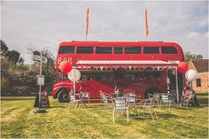 Cotswold Rocks on Wheels… as featured on Mr & Mrs Unique Wedding Blog.   Very cool London red double decker bus as a bar.  Photos by Photography by Stefanie