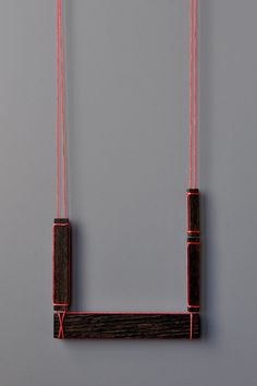 Julia Turner, Mill Necklace #5 (Fluorescent Pink Thread), Walnut, cord