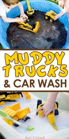 Muddy Trucks and Car Wash: An easy outdoor activity for toddlers and preschoolers; messy sensory activity outdoor fun Muddy Trucks and Car Wash - Busy Toddler Outdoor Activities For Toddlers, Summer Activities For Kids, Summer Kids, Outdoor Fun For Kids, Childcare Activities, Educational Activities, Sensory Play For Toddlers, Summer Crafts For Toddlers, Summer Food