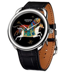 Hermès for their new watches, the Arceau Cheval d'Orient a limited collection of three timepieces has used the Vernis Martin technique to apply Unusual Watches, Amazing Watches, Fine Watches, Watches For Men, Hermes Apple Watch, Hermes Watch, Richard Mille, Horse Riding Fashion, Rolex
