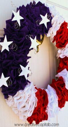 Ruffly Patriotic Wreath Tutorial