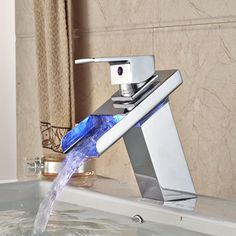 (58.65$)  Watch here  - Wholesale And Retail Promotion Luxury LED Waterfall Spout Chrome Brass Bathroom Basin Faucet Sink Mixer Tap