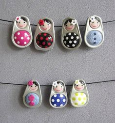 I love these fimo ring pulls. I've not tried them and they look really fiddley (so lots of practice first). ( I think that they are Fimo with faces painted on). Pop Tab Crafts, Soda Can Crafts, Arts And Crafts, Fimo Ring, Polymer Clay Ring, Clay Projects, Clay Crafts, Pop Can Tabs, Matryoshka Doll