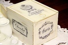 SHABBY CHIC DECOR CHOCOLATE BOX WITH FRENCH PARIS MOTIFS