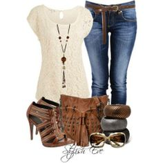 clothes. white, blue, brown