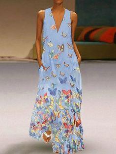 Maxi Dresses Lilac V-Neck Sleeveless Printed Long Dress #Bohemian #bohostyle #spring2021 #summenr #likeforlike #comment #followforfollow #fashionlooks