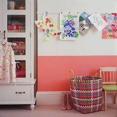 children's art line great idea for all of those fabulous art works they make ;)