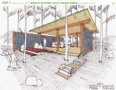 Mobiliario Urbano para el Parque Arvi / Escala Urbana Arquitectura,Croquis módulo picnic vegetación