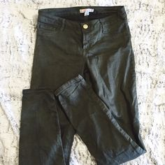 Olive skinny jeans Olive green jeans. Good condition. Fit like a 4 or a 27. No trades refuge Jeans