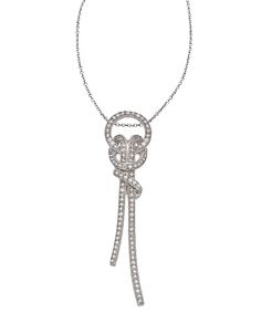 J Weber Sterling Silver and Swarovski Crystal Love Knot Pendant Necklace