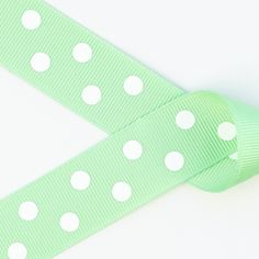 Mint Green with White Polka Dots Grosgrain Ribbon ~ 2 1/4in, 1 1/2in, 7/8in https://squareup.com/market/princess-bubbles-boutique/hair-bow-white-polka-dots-grosgrain-ribbon