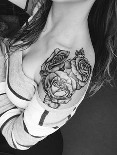 Rose tattoo on shoulder