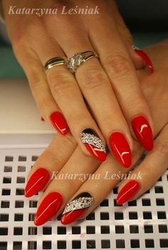 by Kasia Leśniak, Double Tap if you like #mani #nailart #nails #red Find more Inspiration at www.indigo-nails.com