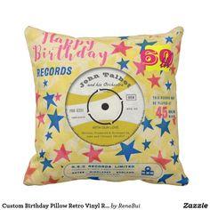 Custom Birthday Pillow Retro Vinyl Record 45 RPM