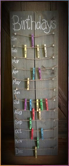 Birthday calendar board wall hanging with colored clothespins - Hand painted, NO. Hand Made , Birthday calendar board wall hanging with colored clothespins - Hand painted, NO. Birthday calendar board wall hanging with colored clothespins - Ha. Fun Diy Crafts, Home Crafts, Handmade Crafts, Upcycled Crafts, Vinyl Diy, Birthday Calendar Board, Classroom Birthday Board, Preschool Birthday Board, Diy Birthday Board