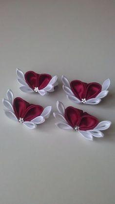 Заколка - уточка Satin Ribbon Flowers, Ribbon Art, Diy Ribbon, Ribbon Crafts, Flower Crafts, Ribbon Bows, Fabric Flowers, Ribbons, Hand Embroidery Flowers
