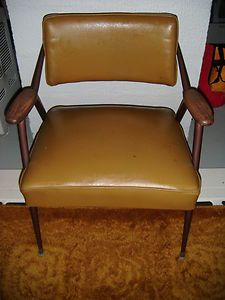 Vintage Retro Gold Adjustible Back Dining Room Chair Wood Arms