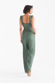 Women - Jumpsuit - linen blend - dark green What do you think is the coolest Women Jumpsuits. Asos Jumpsuit, Jumpsuit With Sleeves, Jumpsuit Dress, Dress Outfits, Casual Outfits, Fashion Dresses, Rompers Women, Jumpsuits For Women, Cotton Dresses
