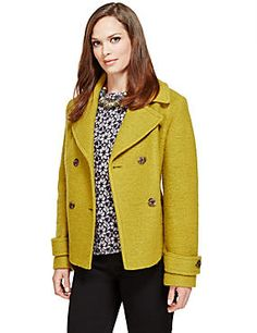 Wool Rich Peacoat with Stormwear