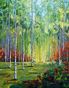 PRINT of oil painting Autumn Trees Impressionist LANDSCAPE Trees Birch Fall Colors Autumn foliage