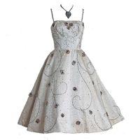 1950's Ceil Chapman Ivory-Creme Rhinestone Sequin Satin Dress