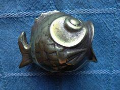 Antique Vintage Solid Brass Fish Ashtray Very Heavy   eBay
