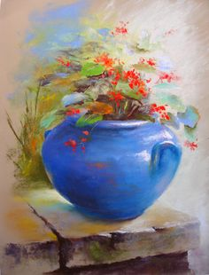 Pot de Géranium  Blog : http://michelbretonpastels.blogspot.fr/ Galerie : http://fr.artscad.com/@/BretonMichel Pinterest : https://pinterest.com/michelbreton/