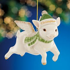 Flying Green Pig Ornament by Lenox