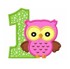 Owl Number First Birthday Applique Machine Embroidery Design Baby Applique, Elephant Applique, Applique Designs, Machine Embroidery Designs, Embroidery Ideas, Letter Cake Toppers, Pumpkin Applique, Star Stitch, Color Themes