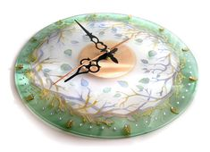 Hand painted glass wall clock Forest Fairy Tale by ArwenFantasy