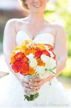 Orange, Yellow, and White Bridal Bouquet