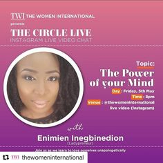 """Are you joining me live tonight? It's my first time live on insta eeeek! Be nice  #Repost @thewomeninternational with @repostapp  We are more than excited about this one! Enimien @nimz_i is such a lovely woman with a very calm soul. Inspiring in so many ways...most of all her being able to balance her several successful businesses being a mother and being a wife! Wow! Girl you just go! I for one can't wait to hear @6weekstostartup speak on her chosen topic """"The Power of your mind"""" as we are…"""