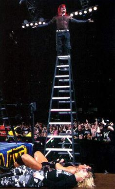 Jeff Hardy putting his body on the line during TLC II - Wrestlemania X-Seven