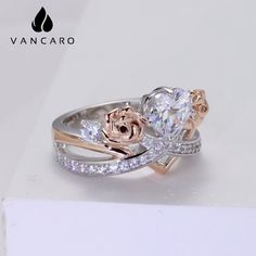 Crown Ring For Women With Heart Cut Cz And Rose Flower Adorned Gemstone Colors, Cute Jewelry, Fashion Rings, Silver Color, Beautiful Rings, Sterling Silver Rings, Rose Gold, Crown, Engagement Rings