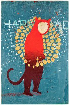 John Randall Nelson, Mixed Media Painting. happy sad, animal