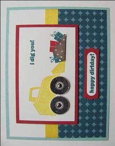 I Dig You stamp set, great little boys card!