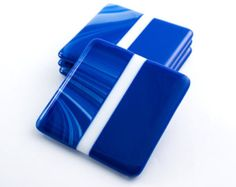 Cobalt Blue Glass Drink Coasters - Modern Home Accessories - Fused Glass Coasters - Set of 4 - Tabletop Decor - Classic Bar - Gift for Him