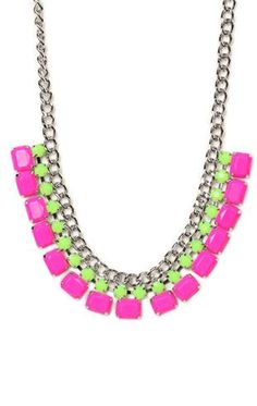 Deb Shops #neon colored stone #necklace $10.00