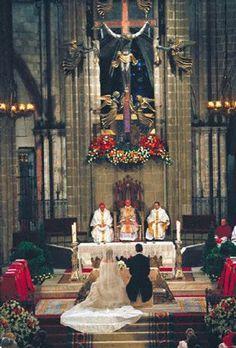 Wedding of Infanta Cristina with Inaki Urdangarín in Barcelona Spain on 4 Oct 1997