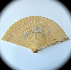 Celluloid & Bone Hand Fan w Hand Painted Violets | A lovely vintage celluloid and bone hand fan c1900-1920s.
