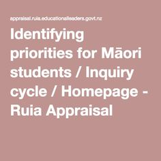 Identifying priorities for Māori students / Inquiry cycle / Homepage - Ruia Appraisal