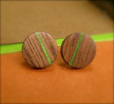 Black Walnut Wooden Earrings Green Stud Earrings by TwistedDesigns, $25.00
