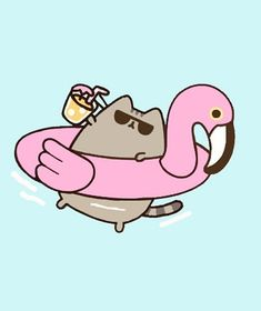 Living the good life 👍 haha Gato Pusheen, Pusheen Love, Pusheen Plush, Cute Animal Drawings Kawaii, Cute Little Drawings, Easy Drawings, Chat Kawaii, Kawaii Cat, Cat Wallpaper