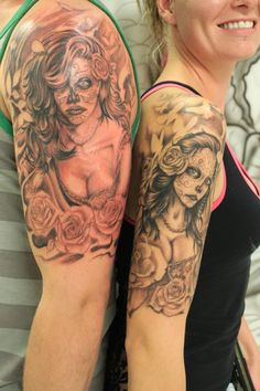 A couple just getting engaged got kinda matching tattoos!  Super rad ink