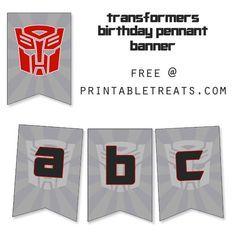{free} printable transformers birthday banner