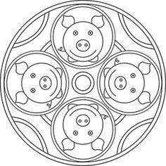 Mandala Glücksschweine tulostusta varten