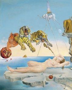 Salvador Dalí - Sueño causado por el vuelo de una abeja alrededor de una granada un segundo antes del despertar – Gala y Tigres  1944