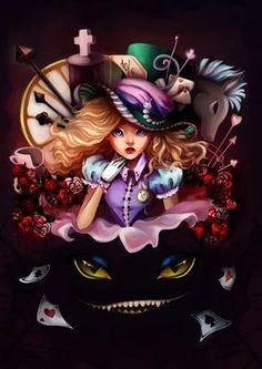 *Alice in wonderland lewis carroll, alice in wonderland fanart, wonderl Alice In Wonderland Fanart, Wonderland Tattoo, Lewis Carroll, Lilo And Stich, Chesire Cat, Alice Madness Returns, Dark Disney, Adventures In Wonderland, Disney Fan Art